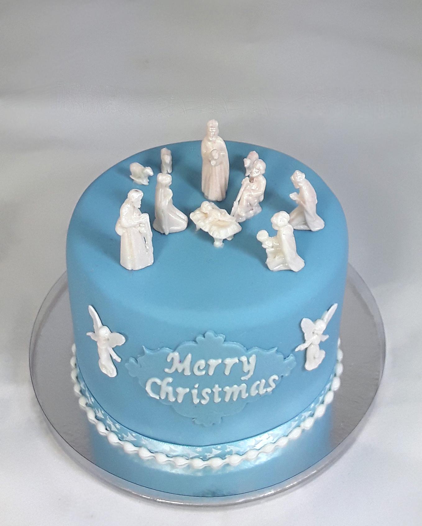 Nativity scene in blue